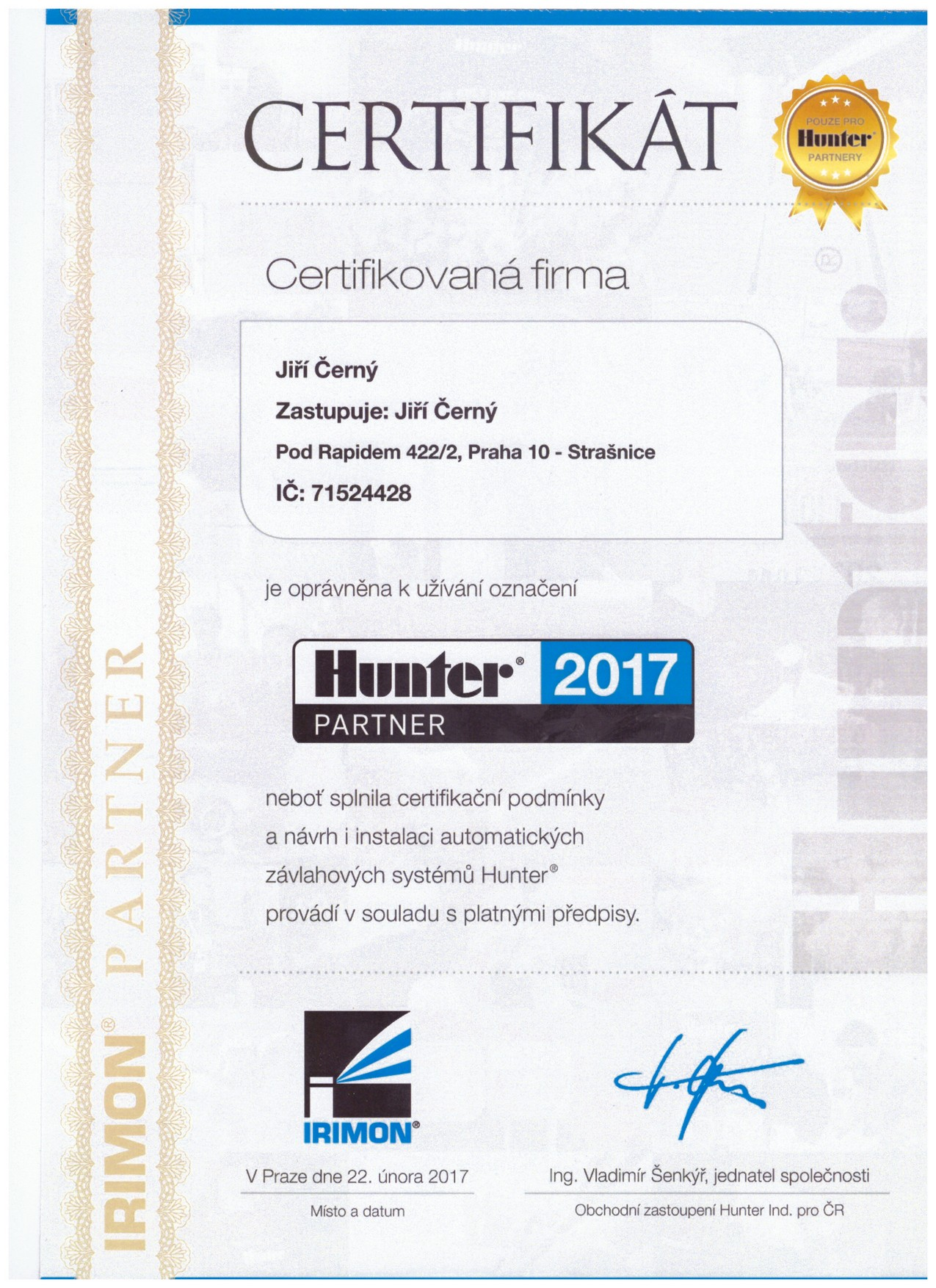 Certifikát Hunter partner 2017